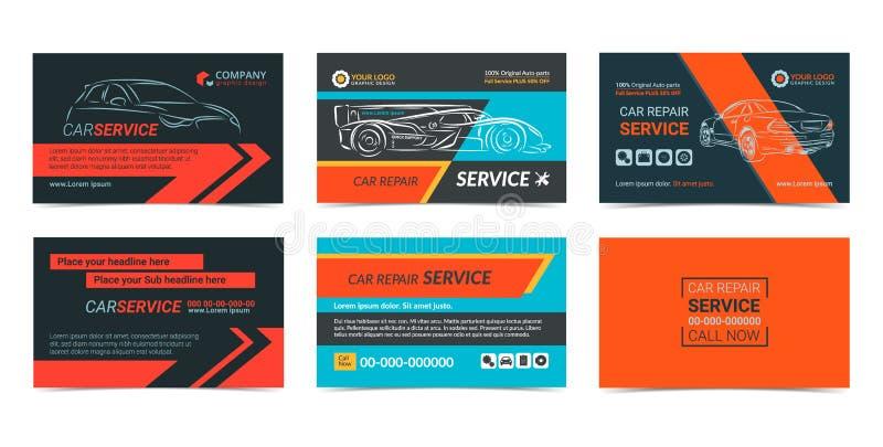 Grupo de moldes da disposição de cartões da empresa de serviços da reparação automóvel ilustração do vetor
