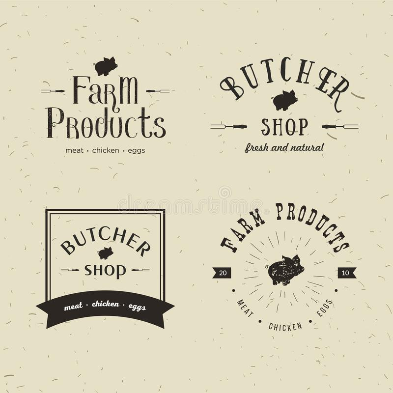 Grupo de moldes denominados retros do logotipo do açougue O emblema da loja de carne do açougue com silhueta do porco, text o aço ilustração royalty free