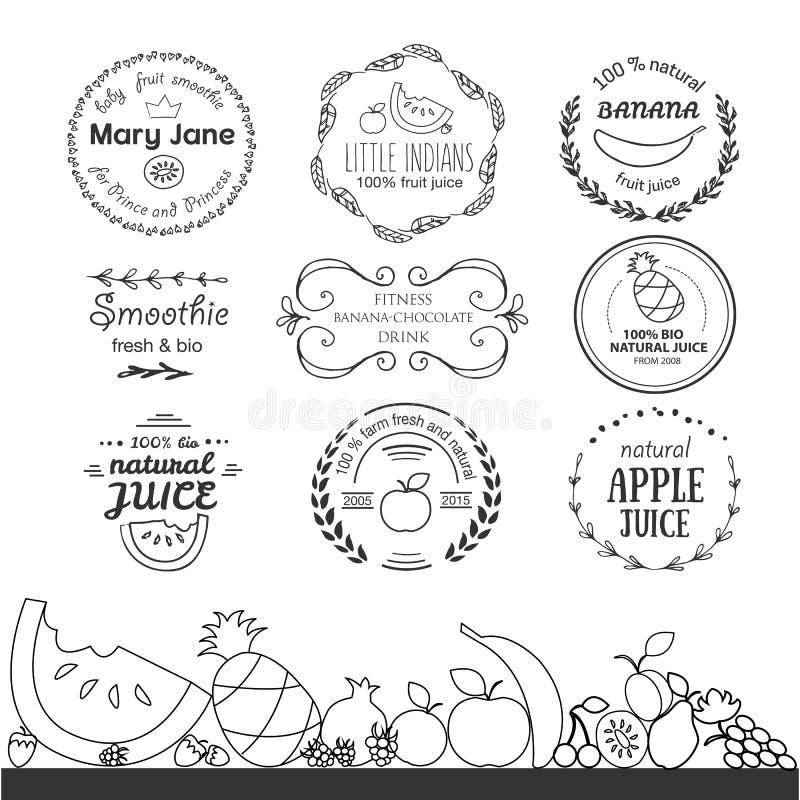 Grupo de moldes diferentes do logotype para o batido de fruta e o suco ilustração stock