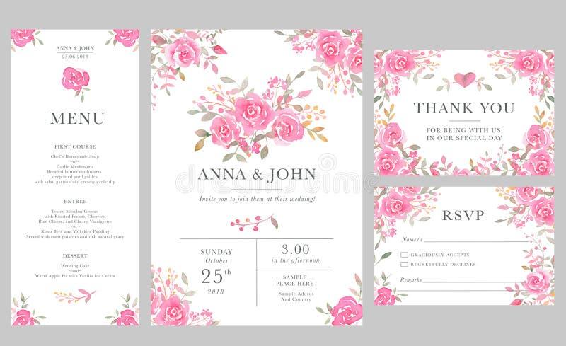 Grupo de moldes do cartão do convite do casamento com as flores cor-de-rosa da aquarela ilustração royalty free