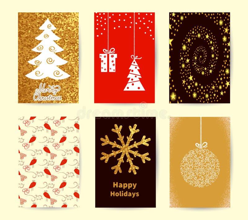 Grupo de moldes do cartão de Natal Fundos do feriado, coleção dos cartazes do ano novo ilustração stock
