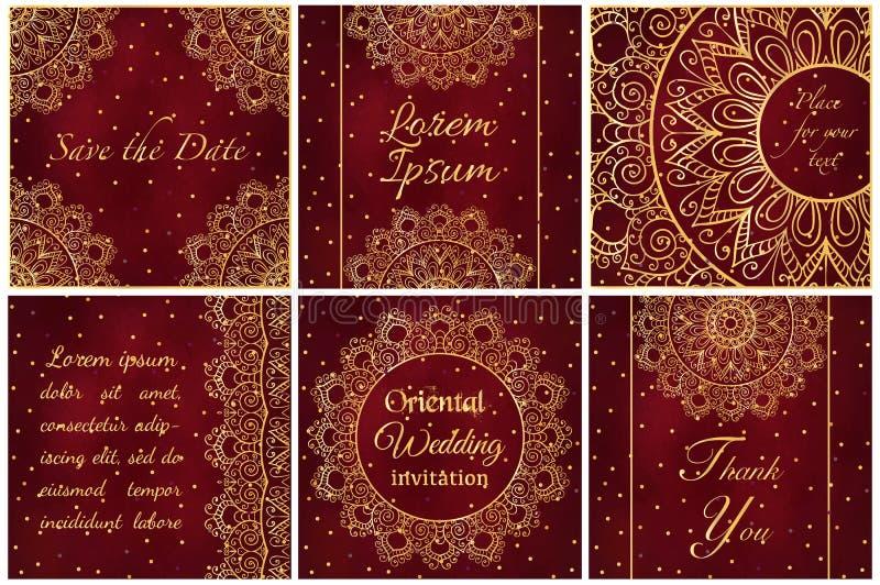 Grupo de moldes do cartão do cartão e do convite com ornamento do laço ilustração stock