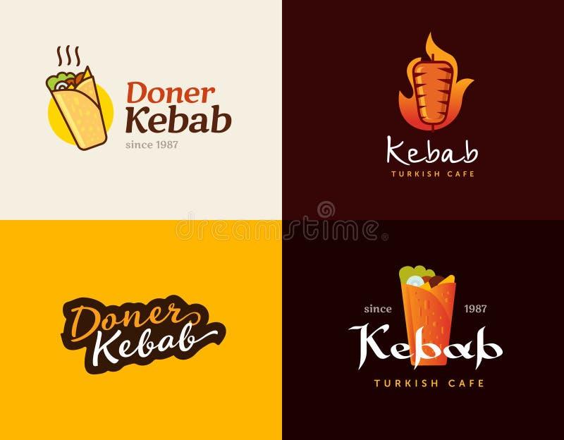Grupo de moldes do logotipo do no espeto do doner Vector etiquetas criativas para o restaurante turco e árabe do fast food ilustração royalty free