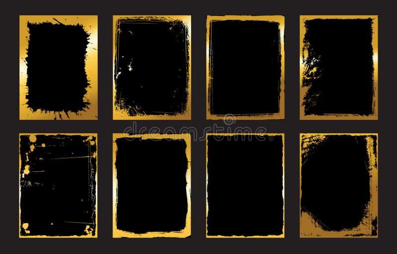 Grupo de moldes do projeto do preto e do ouro para folhetos, insetos, bandeiras Infographic Fundos modernos abstratos ilustração do vetor