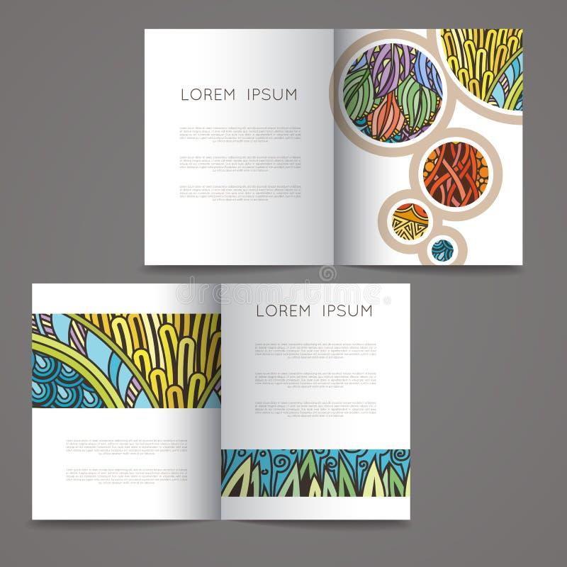 Grupo de moldes do projeto do vetor Compartimentos no estilo colorido aleatório Fundos do vintage isolados no branco ilustração stock