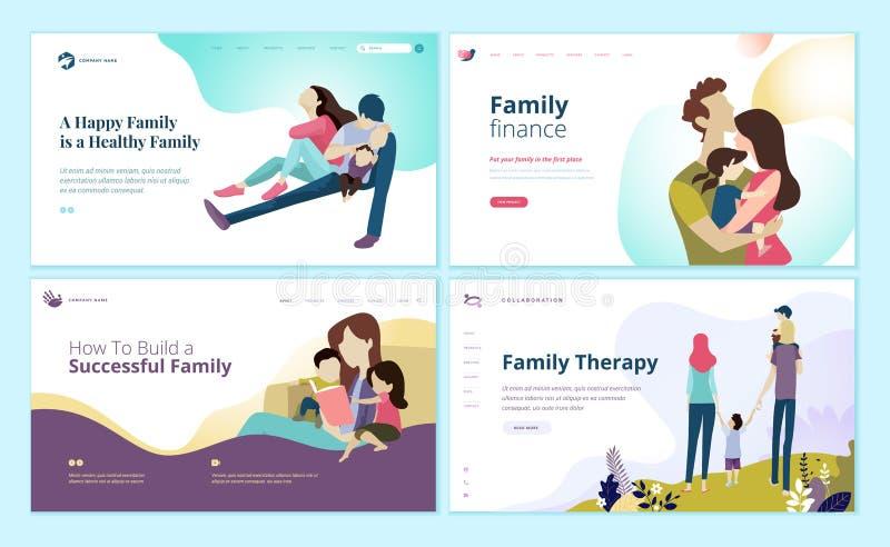 Grupo de moldes do projeto do página da web para a finança da família, cuidados médicos, terapia de família ilustração do vetor