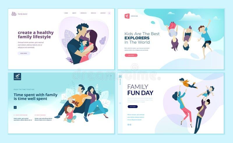 Grupo de moldes do projeto do página da web para o divertimento e o entretenimento da família, ambiente das atividades do ` s das ilustração royalty free