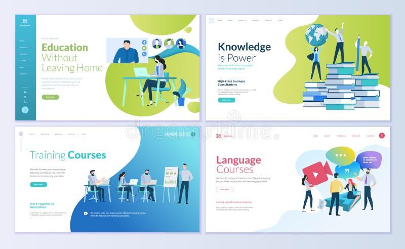 Grupo de moldes do projeto do página da web para o ensino à distância, consultando, treinando, cursos de línguas ilustração royalty free