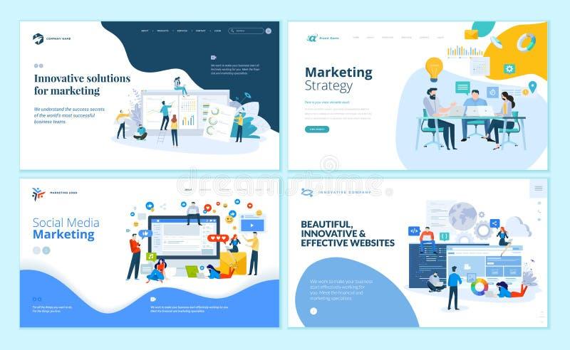 Grupo de moldes do projeto do página da web para o mercado do Internet, meios sociais, projeto do Web site e desenvolvimento ilustração stock