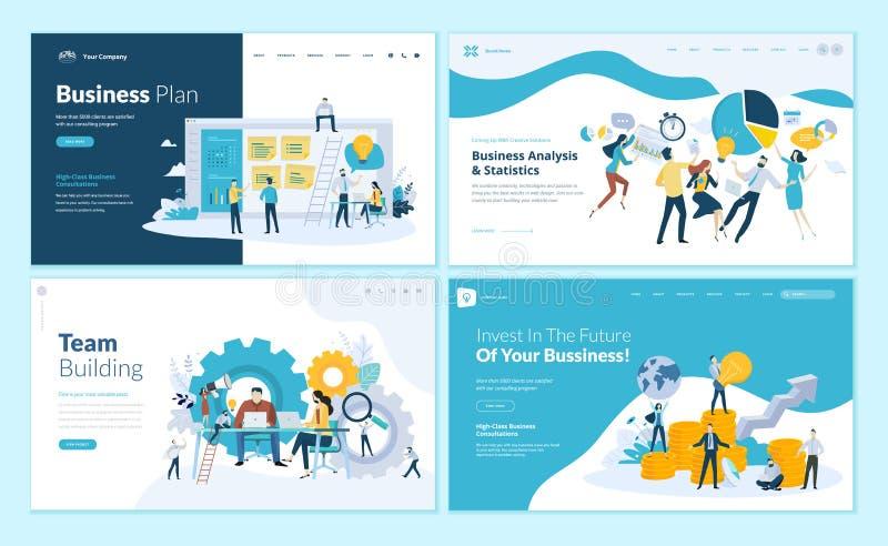 Grupo de moldes do projeto do página da web para o plano de negócios, a análise e as estatísticas, desenvolvimento de equipas, co ilustração royalty free