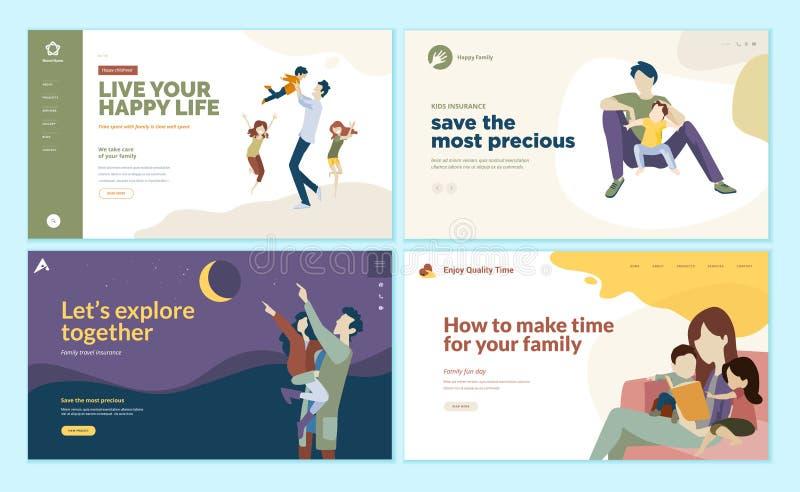 Grupo de moldes do projeto do página da web pelo tempo da família, seguro das crianças, família feliz ilustração stock