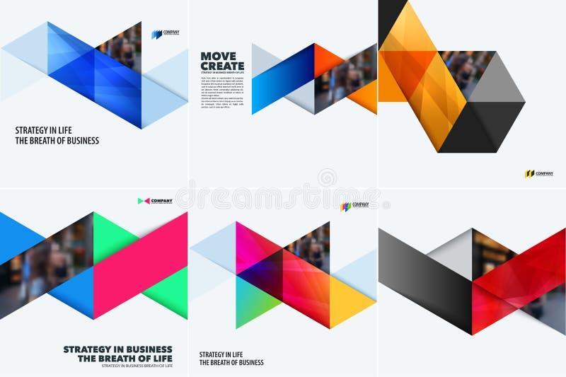 Grupo de moldes do sumário do projeto moderno Fundo criativo do negócio com triângulos coloridos para a promoção, bandeira ilustração do vetor
