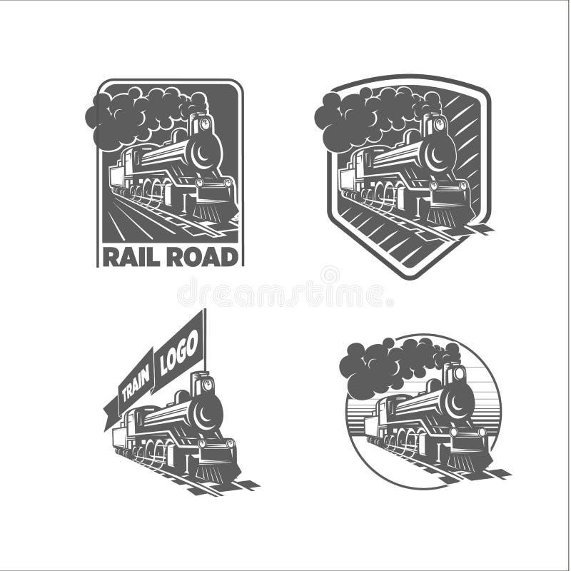 Grupo de moldes do vetor com uma locomotiva Trem do vintage, logotypes, ilustrações ilustração do vetor