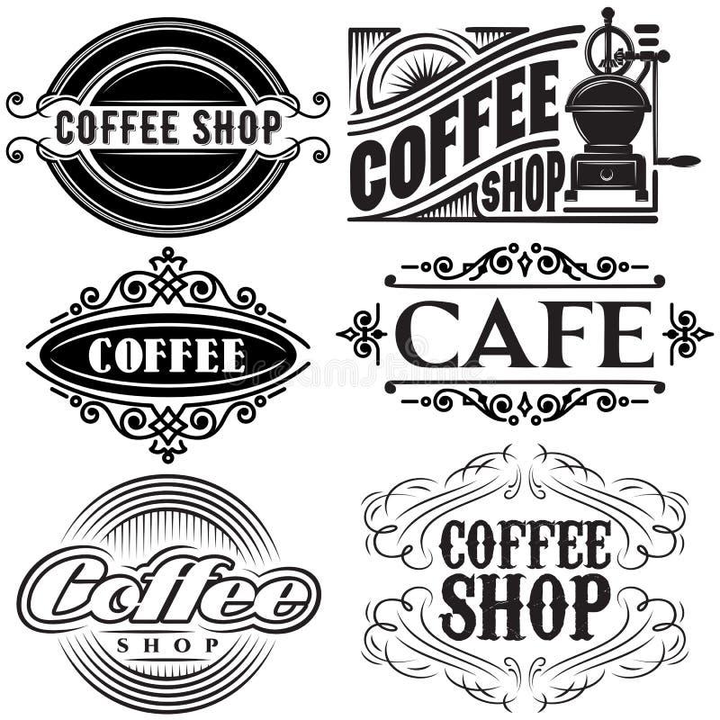 Grupo de moldes do vetor em estilos retros diferentes para anunciar o café ilustração stock
