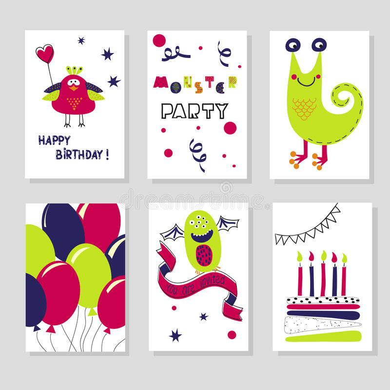 Grupo de moldes dos cartões de aniversário Monstro bonitos dos desenhos animados ilustração royalty free