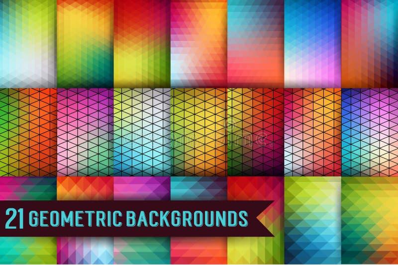 Grupo de moldes geométricos Teste padrão dos triângulos de formas geométricas Contexto colorido do mosaico Fundo retro do moderno ilustração stock