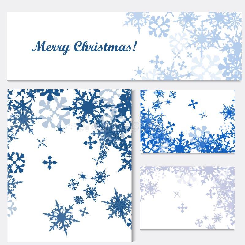 Grupo de moldes incorporados da identidade do Natal com snowflak azul ilustração stock