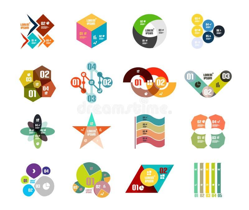 Grupo de moldes infographic dados forma geométricos na moda do diagrama ilustração stock