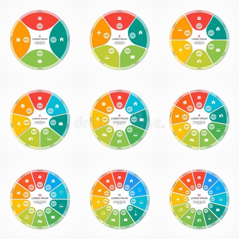 Grupo de moldes infographic do círculo da carta de torta do vetor com 4-12 opções ilustração royalty free
