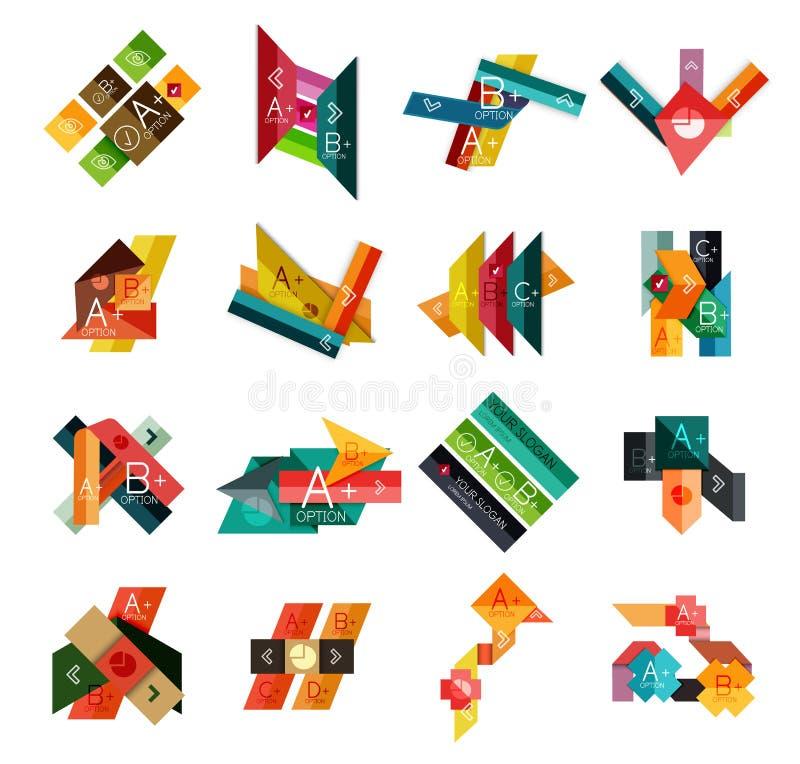 Grupo de moldes infographic geométricos ilustração stock