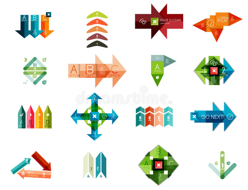 Grupo de moldes infographic geométricos ilustração royalty free