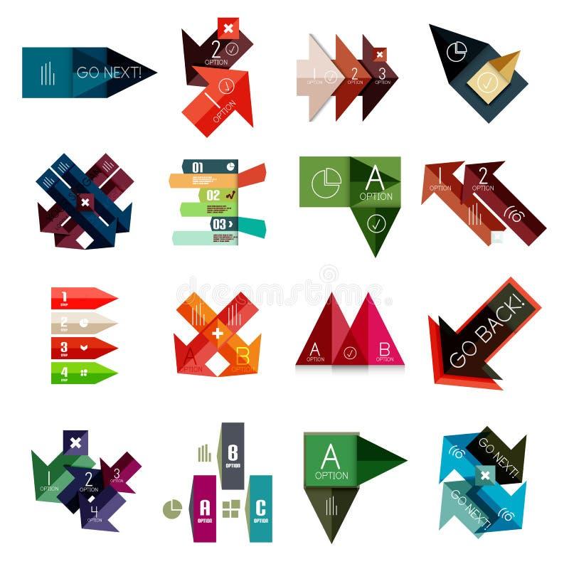 Grupo de moldes infographic geométricos ilustração do vetor