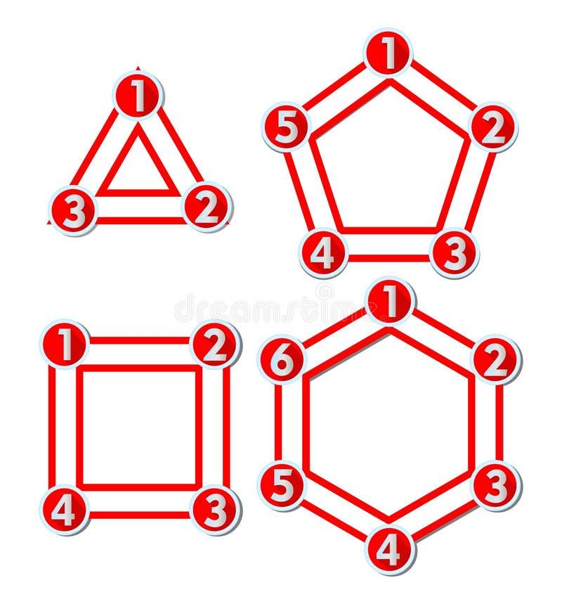 Grupo de moldes infographic para a apresentação dos trabalhos, diagrama do ciclo, apresentação da opção, design web ilustração stock