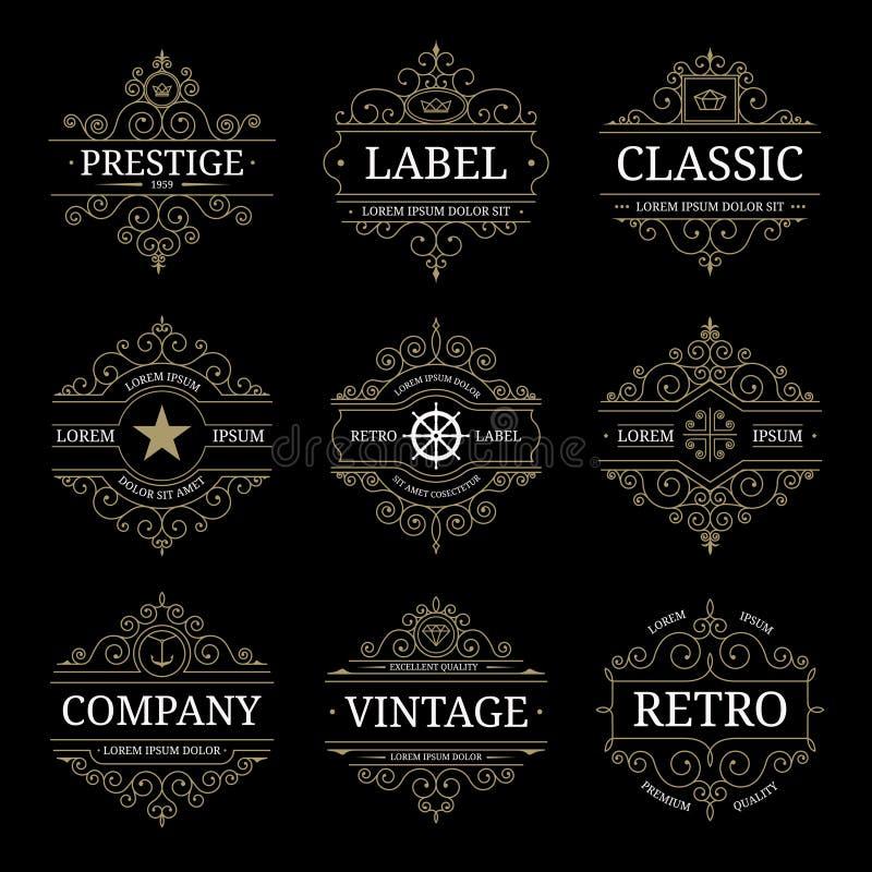 Grupo de moldes luxuosos do logotipo do vintage retro ilustração do vetor