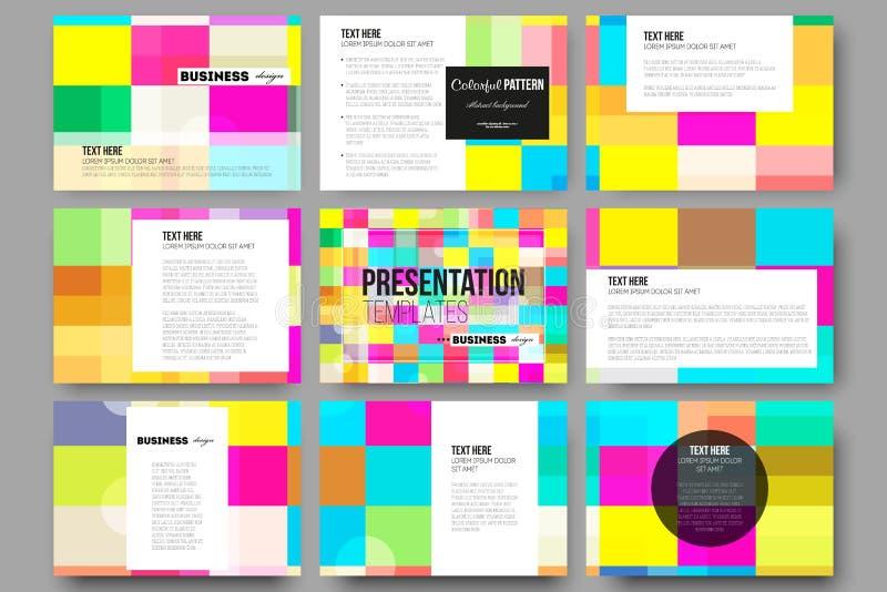 Grupo de 9 moldes para corrediças da apresentação Fundo colorido abstrato do negócio, textura à moda moderna do vetor ilustração stock