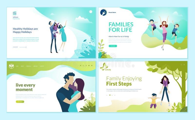 Grupo de moldes para a família feliz, férias em família do projeto do página da web, cuidado do bebê ilustração do vetor