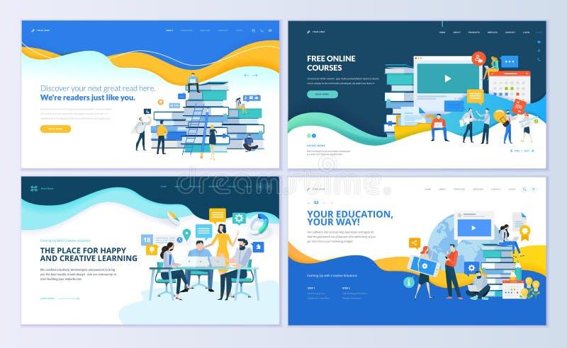 Grupo de moldes para o ensino à distância, cursos em linha do projeto do página da web, ensino eletrónico, cursos ilustração do vetor