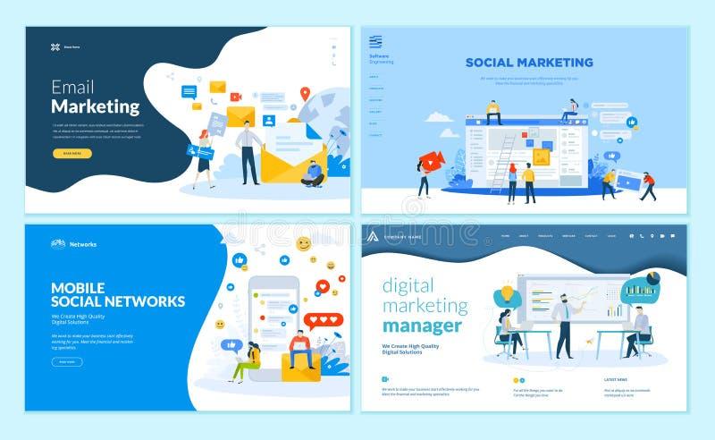 Grupo de moldes para a rede social móvel, soluções do projeto do página da web do mercado do Internet ilustração royalty free