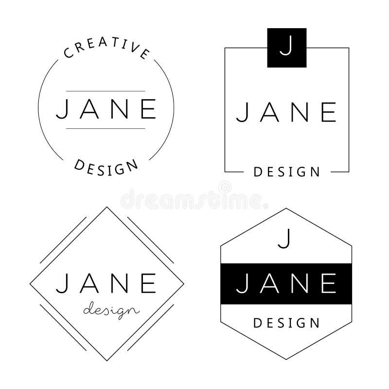 Grupo de moldes pessoais do logotipo Elementos básicos para marcar ilustração royalty free