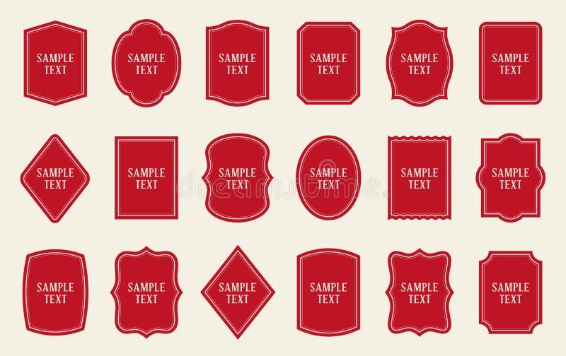 Grupo de moldes vermelhos da etiqueta Fôrmas diferentes ilustração do vetor