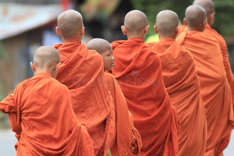 Grupo de monges budistas novas, Cambodia fotos de stock