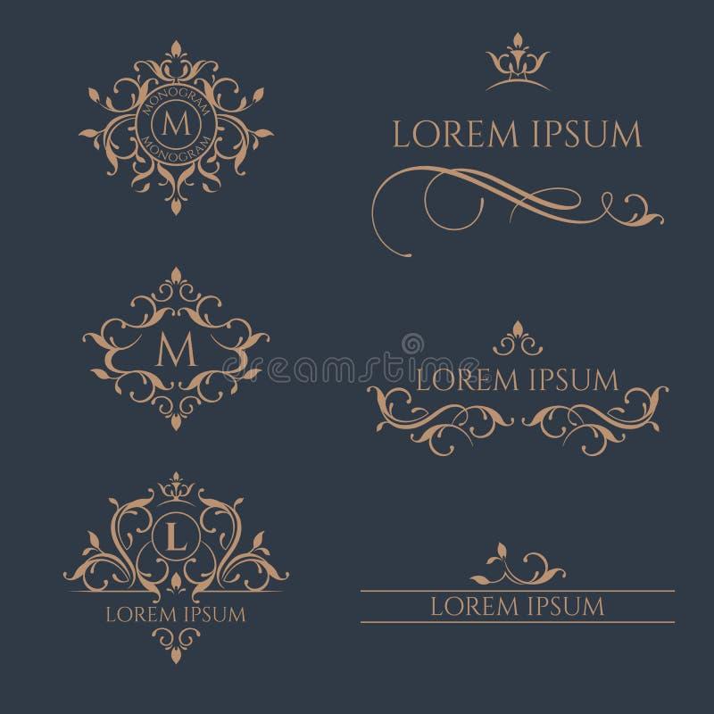 Grupo de monogramas florais e de beiras ilustração royalty free