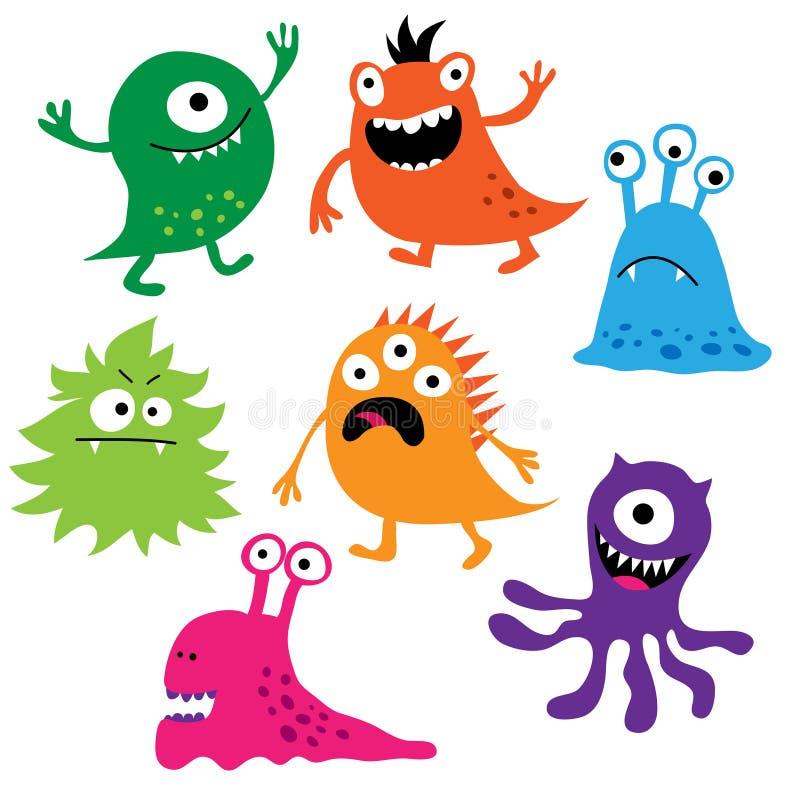 Grupo de monstro coloridos bonitos ilustração royalty free