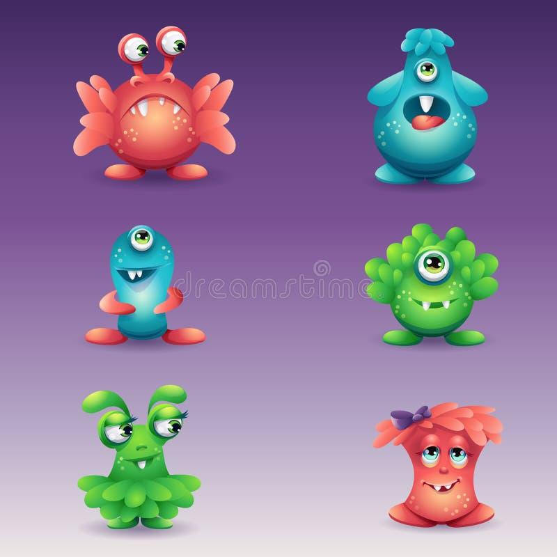 Grupo de monstro coloridos dos desenhos animados, emoções diferentes ilustração stock