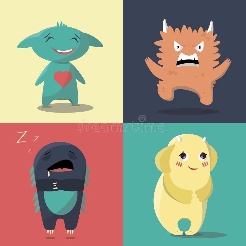 Grupo de monstro com um humor diferente em um estilo liso ilustração royalty free