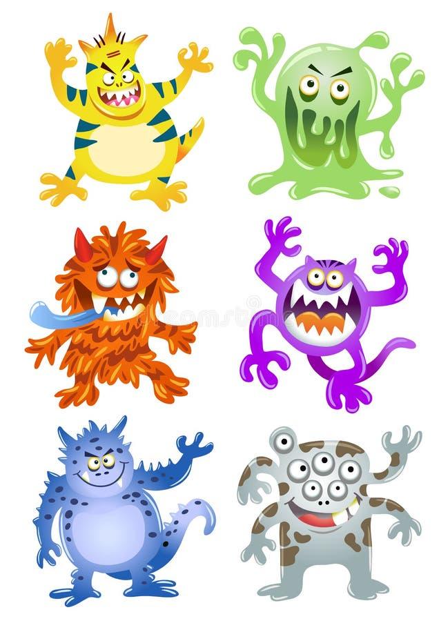 Grupo de monstro engraçados dos desenhos animados ilustração royalty free