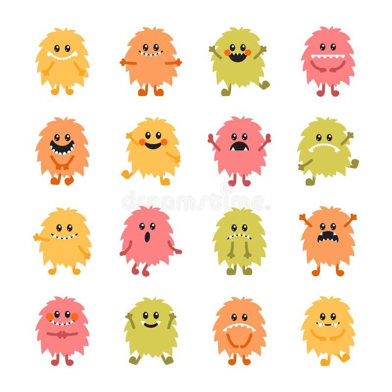 Grupo de monstro tirados mão do smiley dos desenhos animados Coleção do differe ilustração royalty free