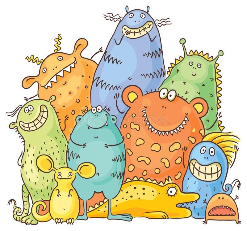 Grupo de monstruos coloridos de la historieta stock de ilustración