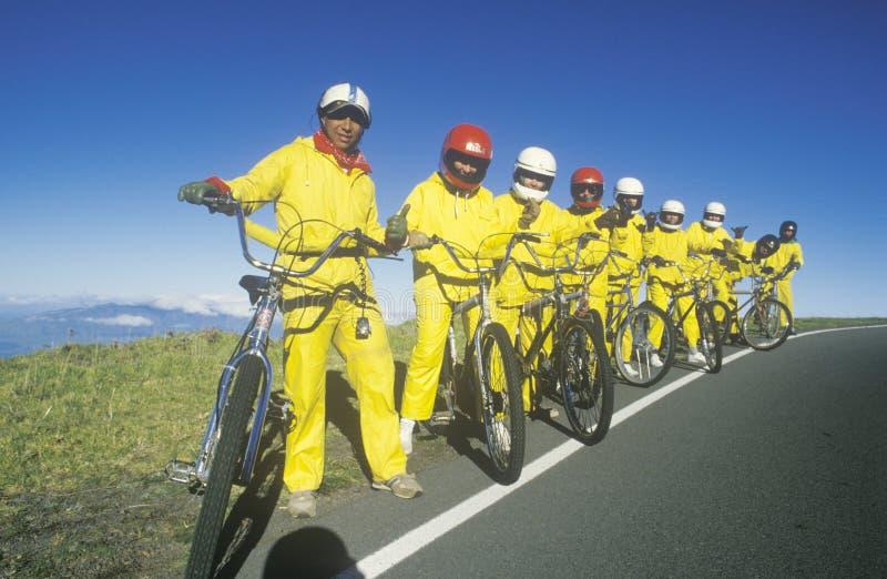 Grupo de montada dos bicyclists fotos de stock