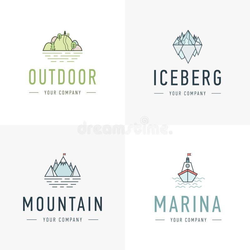 Grupo de montanha do vetor e de logotipo exterior das aventuras Etiquetas do turismo, da caminhada e do acampamento Montanhas e í ilustração do vetor