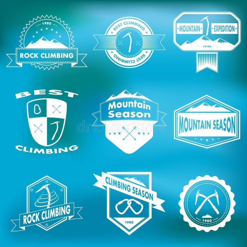 Grupo de montanha e de logotipos de escalada ilustração royalty free
