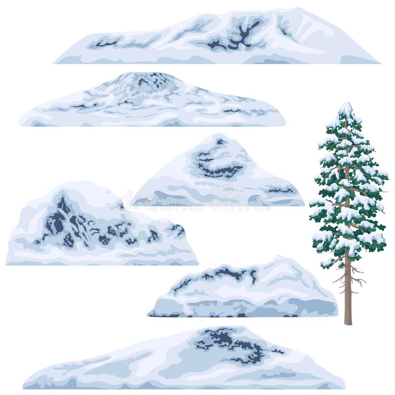 Grupo de montanhas e de montes Neve-tampados ilustração do vetor