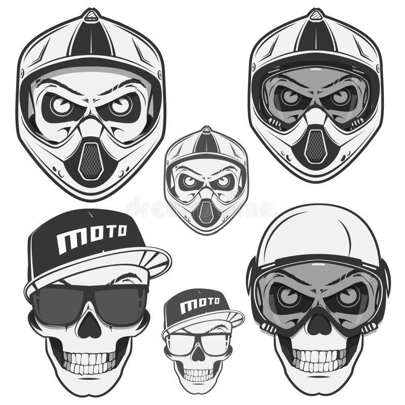 Grupo de motociclista e de motosport do leme do crânio esporte fotografia de stock royalty free