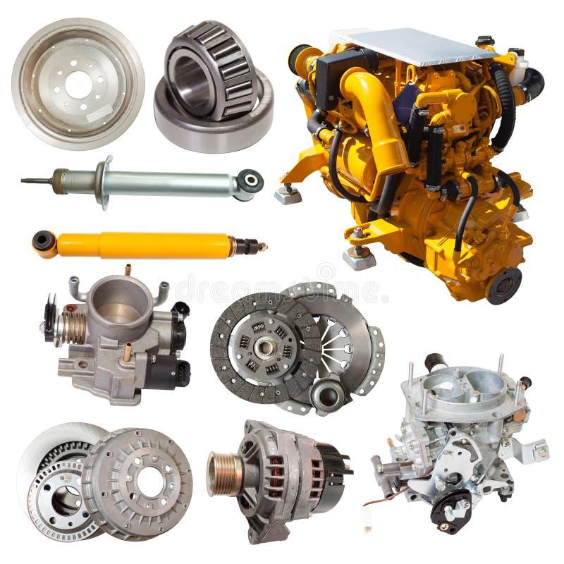 Grupo de motor amarelo e de poucas peças automotivos imagem de stock