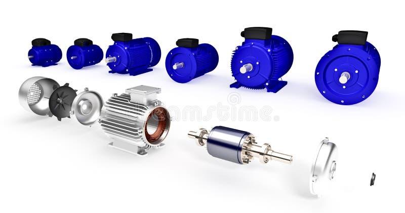 Grupo de motores bondes industriais diferentes ilustração do vetor