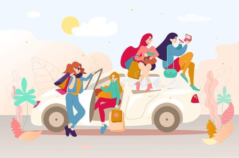 Grupo de muchachas con los bolsos después de hacer compras en un coche libre illustration